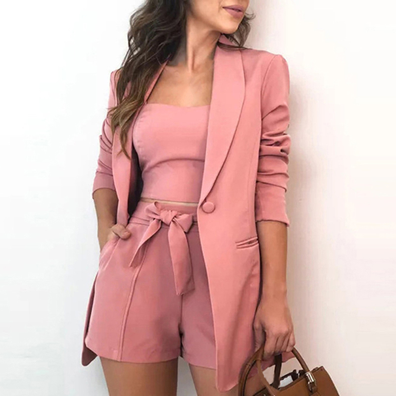 GAOKE Autumn Three Piece Sets Women Sexy Slash Neck Office 3 Piece Set Top And Shorts Long Sleeve Elegant Casual Suits Blazer