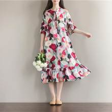 Women Fashion Floral Print Midi Dress Long Sleeve 2019 Spring Autumn Bow Tie Shirt Dress Plus Size Ladies Ruffles Vestidos Mujer(China)