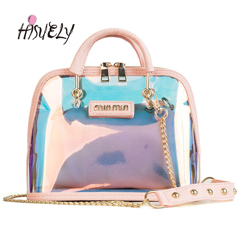 2020 HOT Sale Women Transparent Bag Clear PVC Jelly Small Shell Bag Handbag Laser Holographic Shoulder Bags Female Lady Sac new
