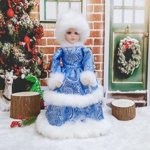 Muñeco de Papá Noel De pie, figuritas de Navidad, adornos para vacaciones, muñecas, regalo para niños, juguetes para cantar y bailar