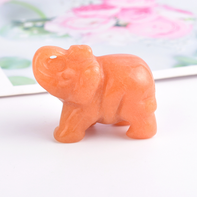 2 inch Crystal Elephant Figurines Craft Carved Natural Stone mineral Mini Animals Statue for Home Decor Chakra Healing 6