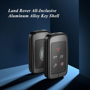 Wysokiej klasy metalowa obudowa kluczyka do Land rovera Range Rover/Discover/Evoque/Velar, stop aluminium z pełną ochroną TPU, breloczek