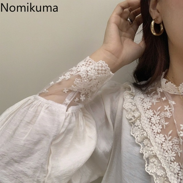 Nomikuma Elegant Vintage Stand Collar Long Sleeve Shirts Lace Patchwork See Through Fashion New Tops Blouse Women Blusas 3a236 6