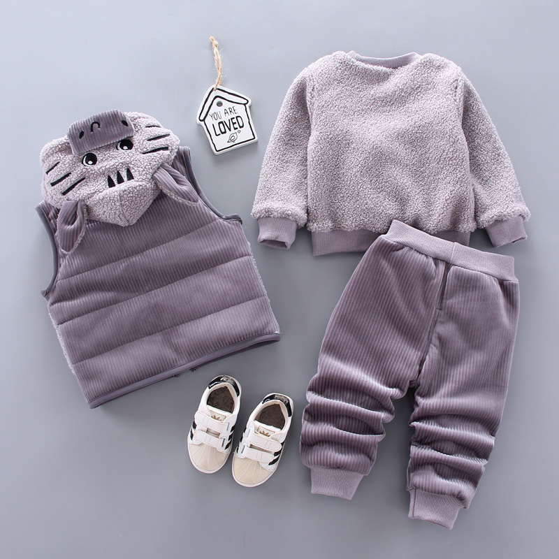 Children's lamb wool warm clothes winter baby boy clothes baby girl cartoon cat plus velvet thick hooded sweater 3-piece set 3