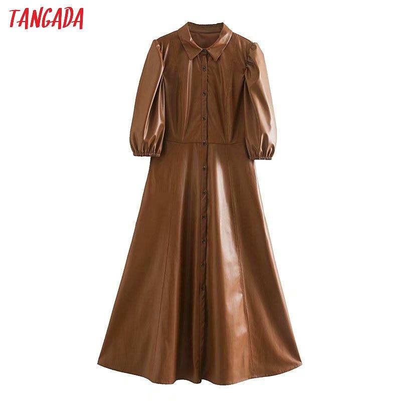 Tangada women brown PU faux leather dress short sleeve retro 2020 fashion elegant office ladies A line midi dress vestido 5Z120