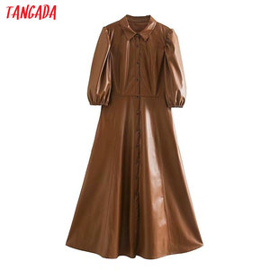 Tangada women brown PU faux leather dress short sleeve retro 2020 fashion elegant office ladies A line midi dress vestido 5Z120(China)