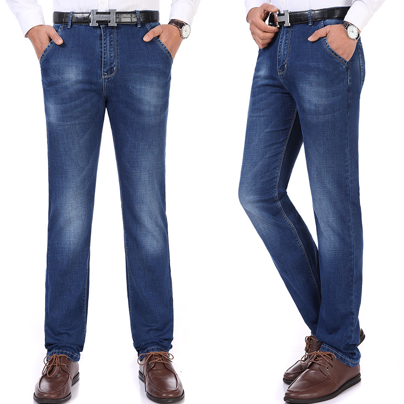 Spring And Summer Jeans Men's Thin Loose Straight Pants Men Elasticity Casual Men's Trousers Middle-aged Large Size