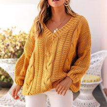 CAWA Women Ribbed Yellow Sweater V-Neck Pullover Female Knitted Sweater