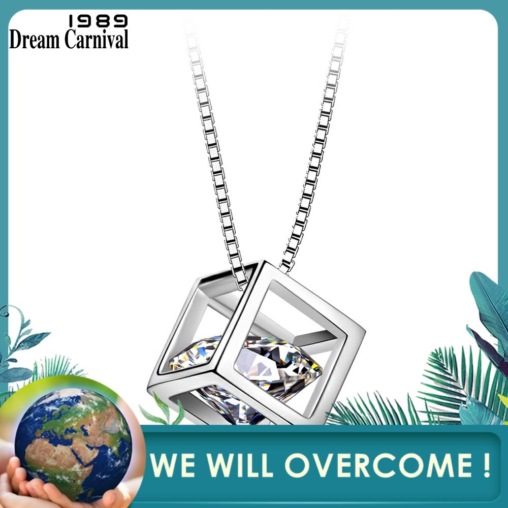 DreamCarnival 1989 Hot Selling Collar Mujer Elegant Crystal CZ Cube Design Sterling Silver Jewelry 925 Pendant Women V00408H