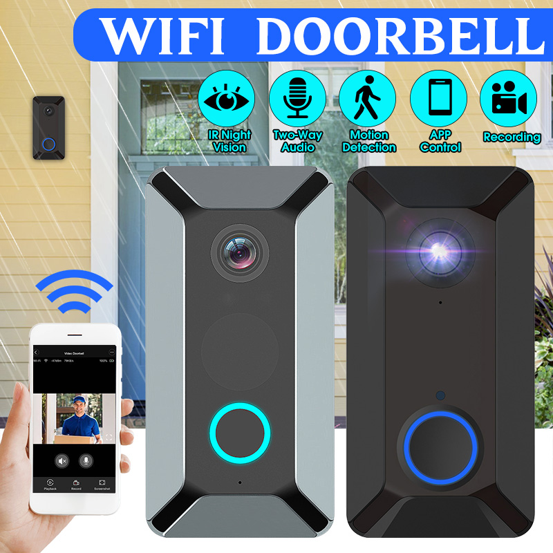 WiFi Video Doorbell 1080P Wireless Smart Security Camera Door Bell 2-way Talk PIR Motion Detection Night Vision Video Intercom