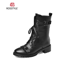 ROSSTYLE Fashion Woman Basic Ankle Boot High Quality Genuine Leather Round Toe Low Heel Shoes Solid Buckle Lace-up Retro Boots цена 2017