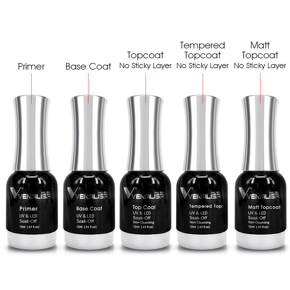 VENALISA No-wipe Top Coat 12ml Nail Art Gel Polish Shiny Glass Bottle Gel Nail Polish UV LED Base Foundation Super Matt Top Coat 1