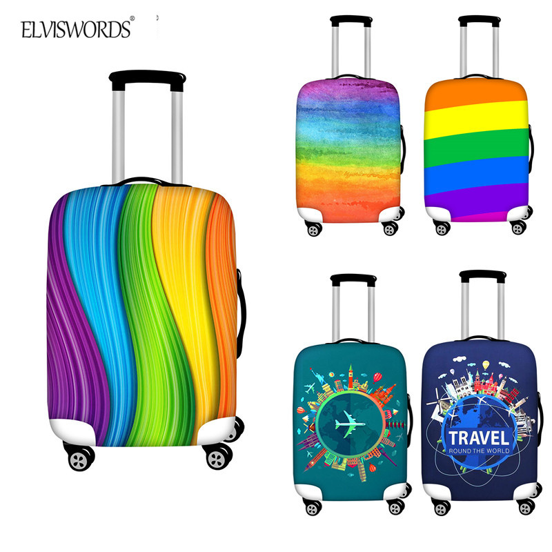 ELVISWORDS Beautiful Rainbow Pattern Suitcase Protective Covers Elastic Thick Waterproof Travel Accessories Luggage Cover