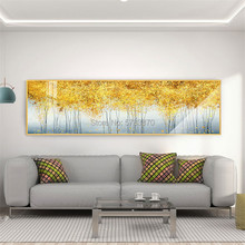 Handmade Modern landscape Oil Painting On Canvas Abstract golden tree Art Pictures long Horizontal painting for living room