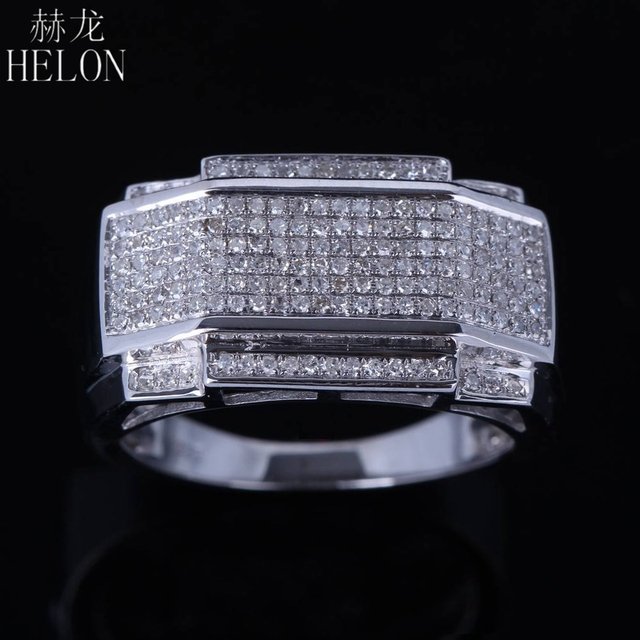 HELON Sterling Silver 925 Round 100% Genuine Natural Diamond Wedding Fine Ring Engagement Estate Band Ring Men's Jewelry