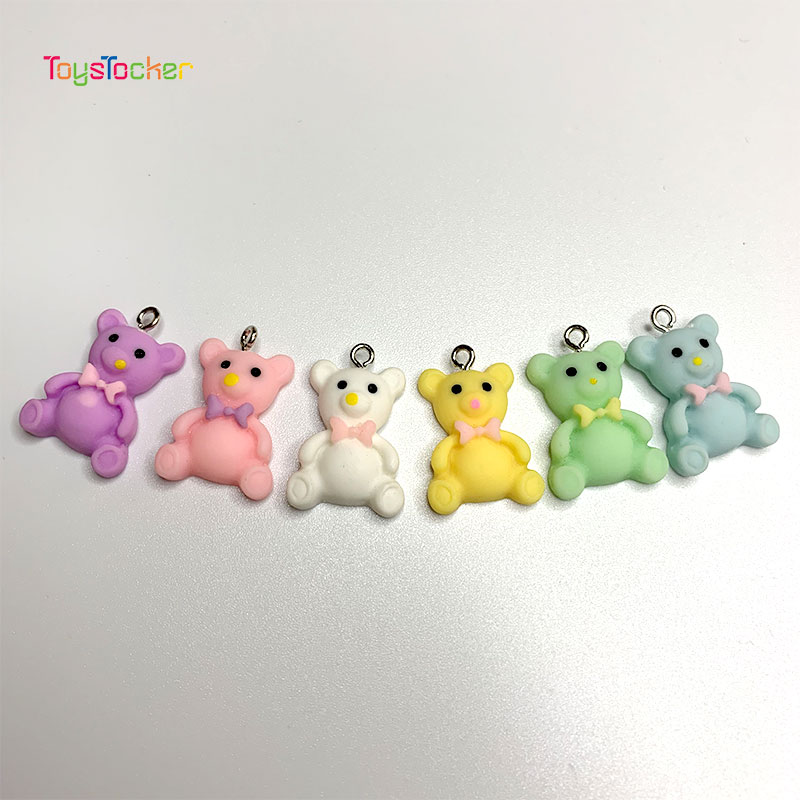 10pcs Hot Candy Bear Cute Resin Charms DIY Gummy Earrings Key Chain Necklace Pendant Jewelry Decor Accessory