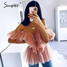 Simplee V คอสายคล้อง Boho เสื้อผู้หญิง Ruffle แขนสั้น Elegant peplum Tops ฤดูร้อน Lace Up สุภาพสตรีเซ็กซี่ blusas 2019