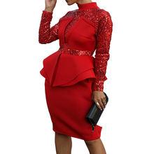 Элегантное вечернее платье с блестками женское Клубное красное