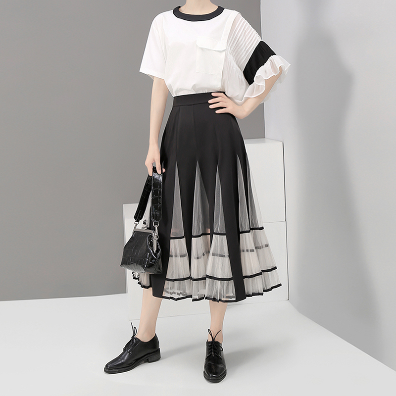 Image 2 - New 2020 Women Black Elastic High Waist Skirt Mesh Patchwork A 