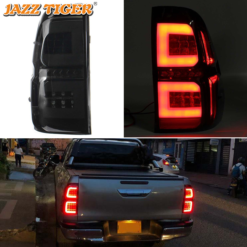 Car LED Tail Light Taillight For Toyota Hilux Revo 2015 - 2019 Rear Running Lamp + Brake Light + Reverse + Dynamic Turn Signal