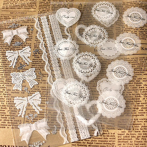1pcs/pack Vintage White Lace And Transparent Gilding Style Sealing Sticker DIY Gifts Posted Baking Decoration Label Stickers