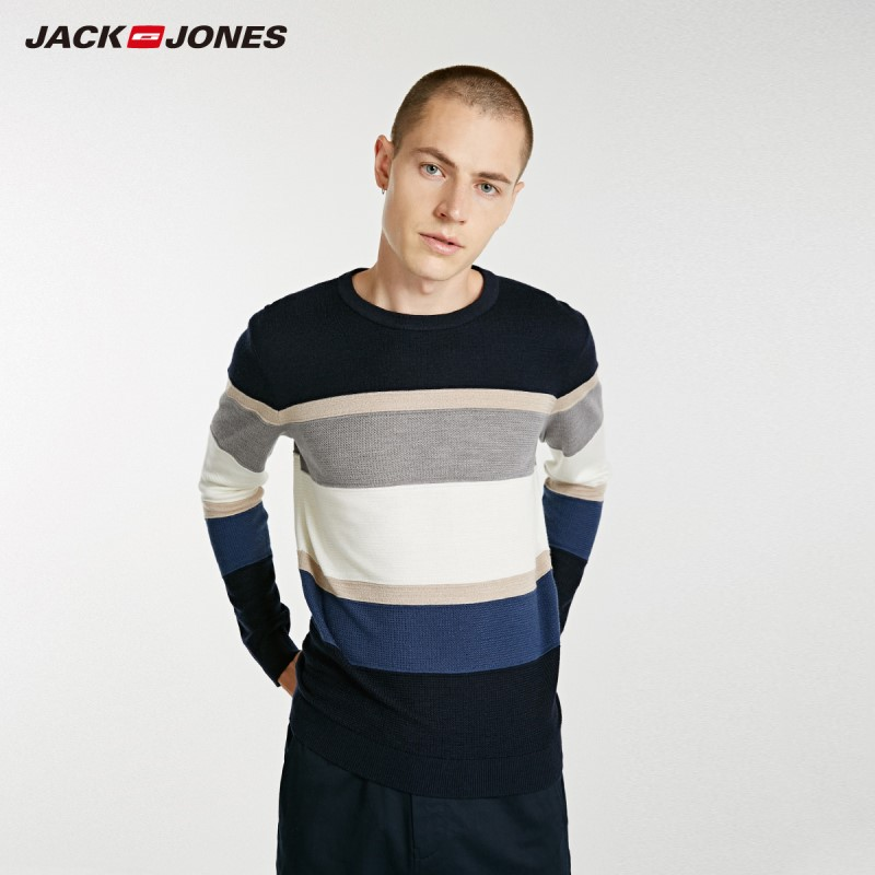 JackJones Autumn Men's Striped Woolen Sweater Pullover Top 2019 New Menswear  218324516