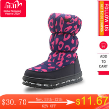 Apakowa zapatos de invierno para niñas con estampado de leopardo, forro de lana, botas de nieve para niños, impermeables, antideslizantes, zapatos gruesos para bebés de 1 año