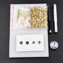 Inner Diameter 5mm 100sets Gold/Silver/Black Metal Eyelets Rivet Gromets,Manual Knocking & Punching install Tools Kit with Table Pad. Clothing Bags Shoes DIY Craft