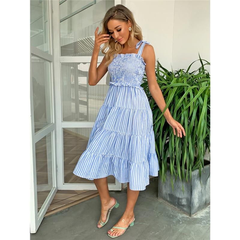 Pofash Blue Tie Bow Bohemian Dress Women Ruched High Waist Backless Spaghetti Strap Midi Dresses Summer Ruffle Beach Vestidos 11