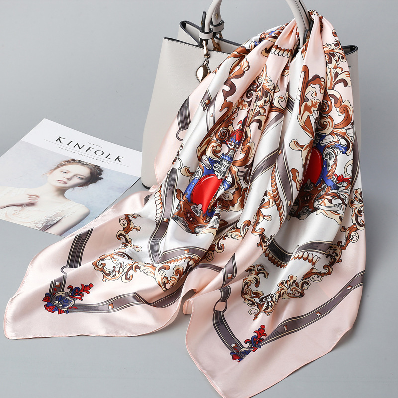 Printed Silk Scarf Square Female Sunscreen Wild Decoration Multifunctional Silk Thin Scarf Man Women 2020 Spring Summer