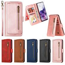 Leather Zipper Flip Wallet Case For Samsung Galaxy S20 Plus S20 Ultra Phone Case For Samsung Galaxy A51 A71 A81 A91 Cover