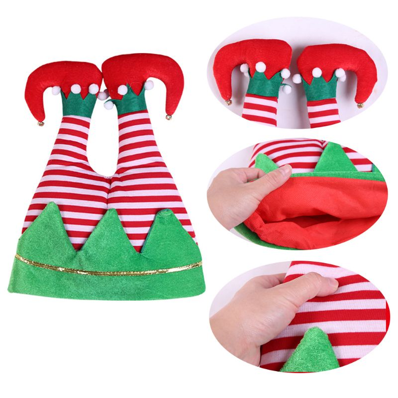 Novelty Funny 3D Christmas Santa Pants Hat Elf Upside Legs Cap Xmas Costume Prop NEW
