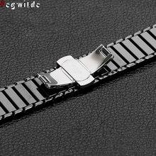קרמיקה רצועת עבור אפל שעון סדרת 6 SE 5 4 3 iwatch 42mm 38mm מתכת פרפר אבזם צמיד אפל שעון להקת 44mm 40mm