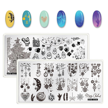 1PCS Christmas Nail Stamping Plates Template Halloween Pattern Nail Art Stamp Stamping Image Plate Manicure Stencil Nails Tool geometry flower nail stamping template negative space puzzle figure stamp nail manicure nail stamping plate