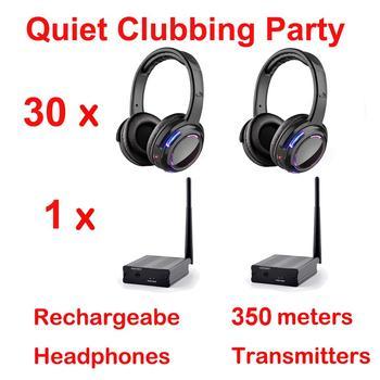 Silent Disco compete system black led wireless headphones - Quiet Clubbing Party Bundle (30 Headphones + 1 Transmitter)