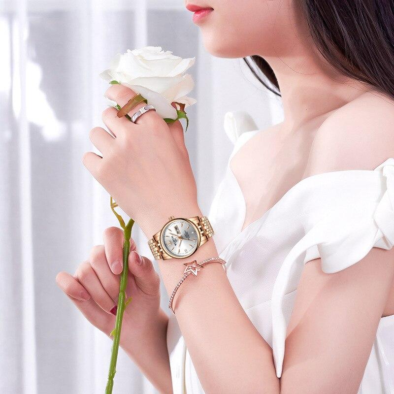 Wlisth Топ бренд женские часы Вольфрамовая сталь часы для влюбленных подарок розовое золото китайский-английский календарь кварцевые часы во...