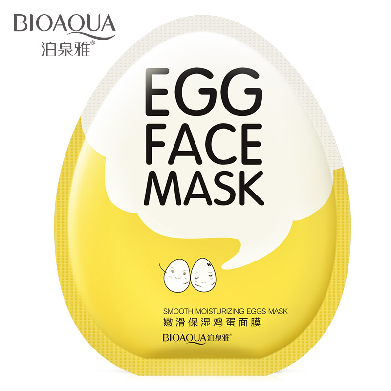 BIOAQUA Brand Eggs Face Mask Moist Hydrating Shrink Pore Brightens Whitening Facial Masks Anti Aging Sheet Cosmetics Skin Care
