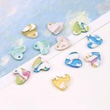 10pcs Hot Sale Korea Popular Acetate Heart Shape Pendant Sweet Dangle Earrings For Women &Girl Material Diy Jewelry Accessories