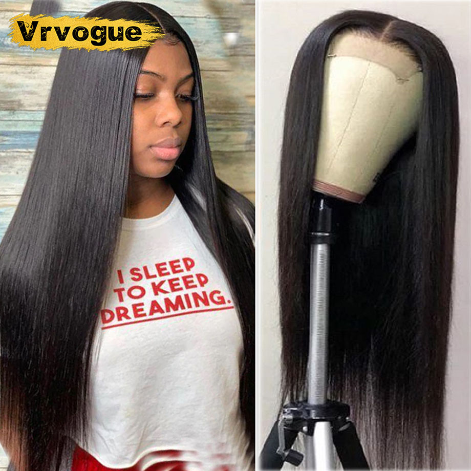 30 Inch Closure Wig Straight Brazilian Human Hair Wigs For Black Women 4x4 Remy Lace Front Wig Human Hair 150% Density Vrvogue