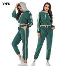 2019 Fashion Side Stripe Tracksuit Women Autumn Winter Clothes Cotton Long Sleeve Hoodies+Long Pant Two Piece Set S-XL women set