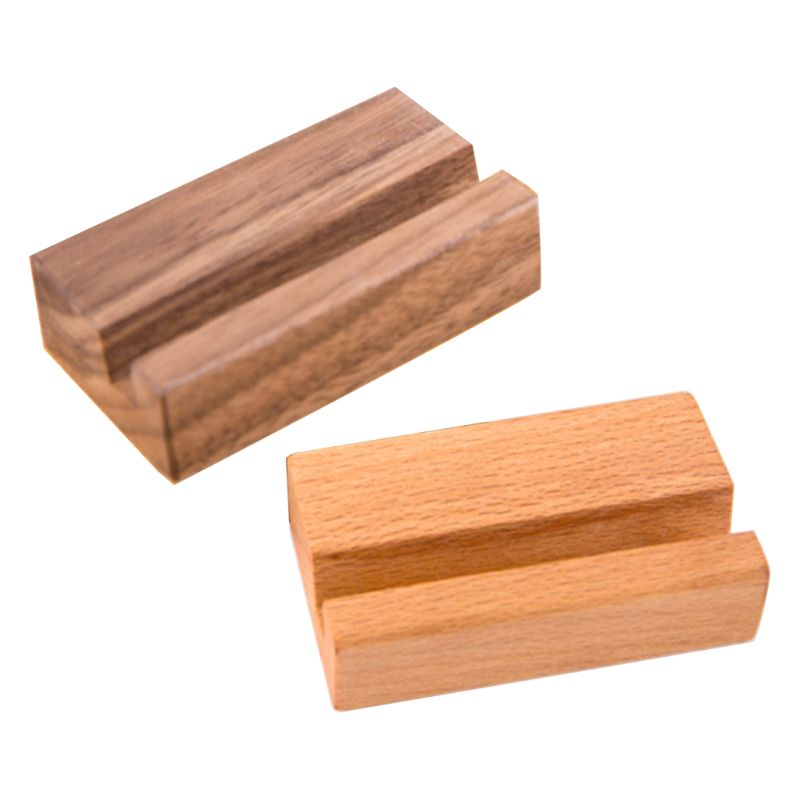 Black Walnut Beech Wood Business Card Holder Office Desk Photo Stand Name Memo Clips Organizer Storage Dinner Party Decor