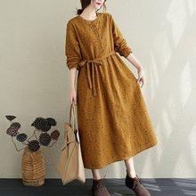 Women Autumn Cotton Linen Long Dress New Arrival 2020 Arts Style Vintage Floral Print Loose Ladies Elegant A-line Dresses S1857