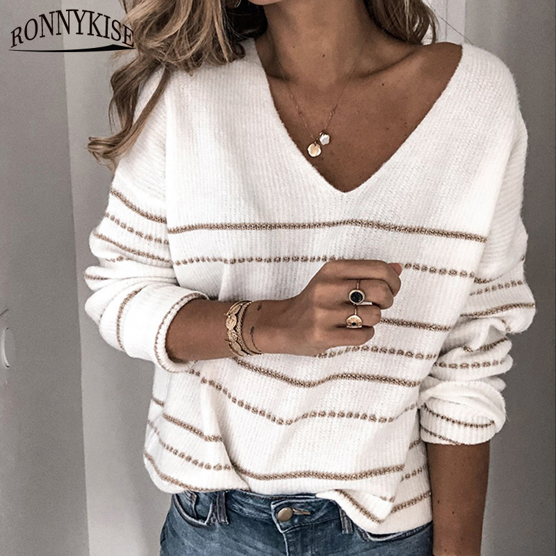 RONNYKISE Knitwear Color Block Striped Sweaters Women's Fashion Long Sleeve Sexy V-neck Pullovers Tops Autumn Winter Clothes