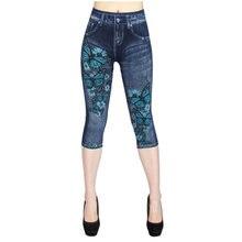 Имитация джинсов леггинсы для женщин эластичные короткие с принтом