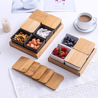 creative With cover The compartment plate Snack plate nuts Dried fruit sauce platter Fruit bowl restaurant supplies The ceramic