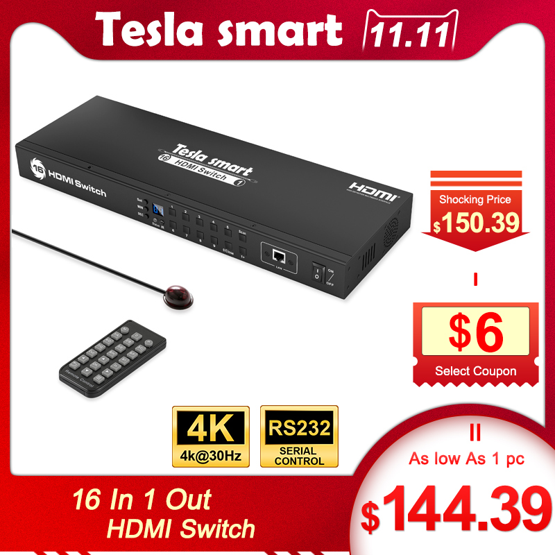 Tesla Smart Rack Mount Video Audio HDMI Switch 16 Port HDMI Switcher 16 In 1 Out Support 3840*2160/4K