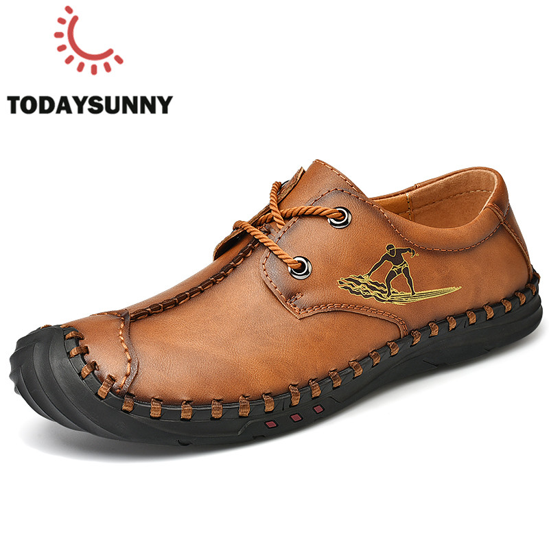 Shoes Men Sneakers Soft Leather Casual Sneakers Male Lace-Up Fashion Footwear Chaussure Homme Men Moccasins Shoes Big Size 38-48