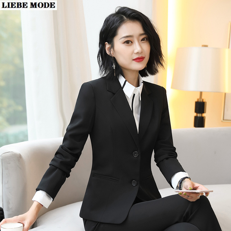 OL Black Navy Blue Pants Suit Jackets Trousers 2piece Set Women Work Wear Office Pantsuit Female Uniform Formal Blazer and Pant