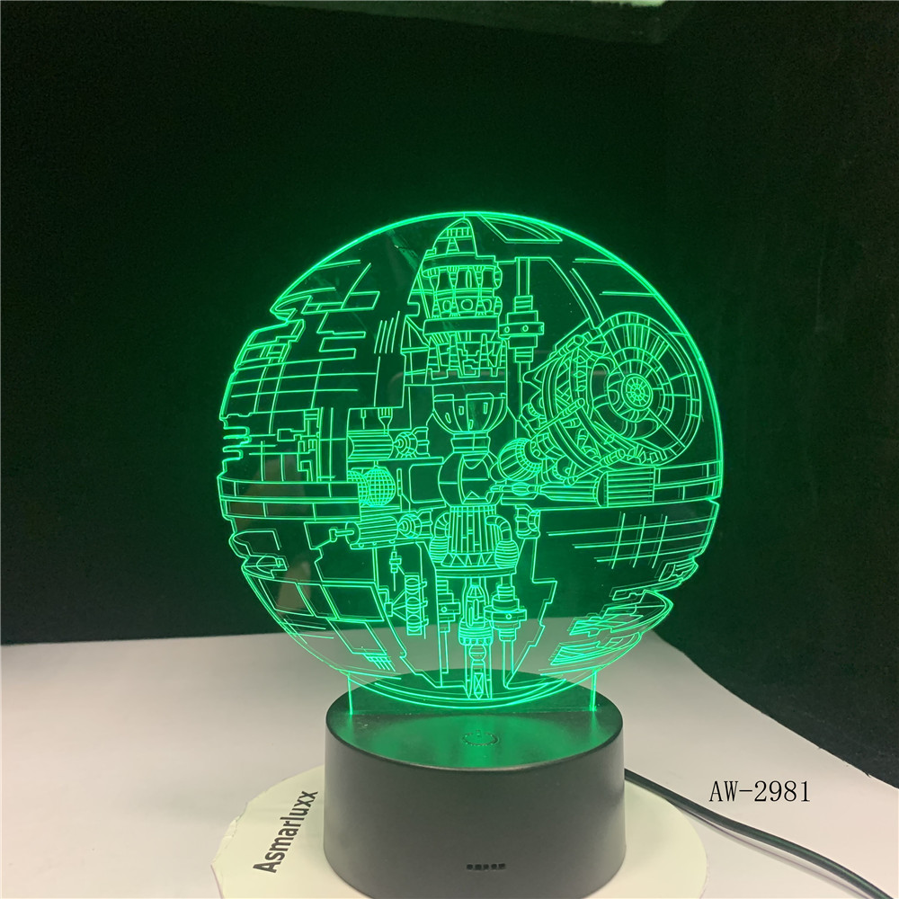 New 2019 Hot Movie 3D 7 Color Change Remote Star Wars Death Star LED Night Light Novel Atmosphere Lamp Children Birth Gift 2981 image