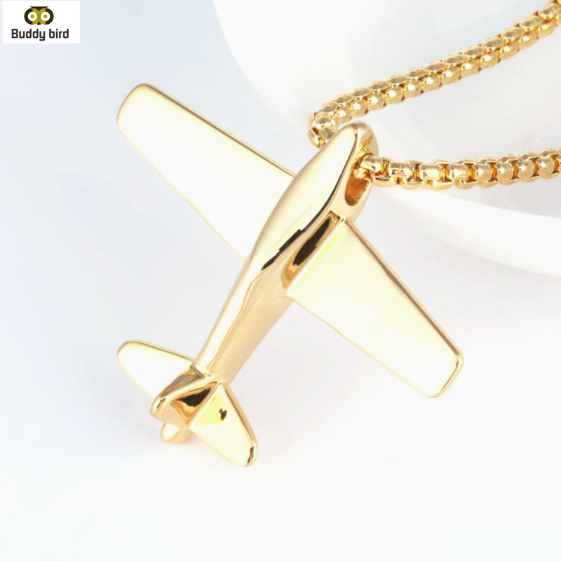 COOLSTEELANDBEYOND Stainless Steel Colorful Airplane Pendant Necklace for Men Women with 23.6 inches Wheat Chain